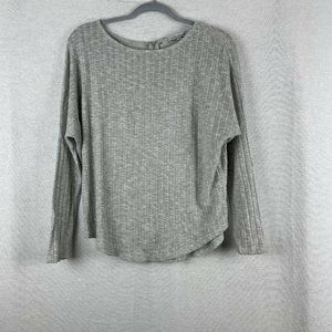 Green Envelope Gray Long Sleeve Top Exposed Zip